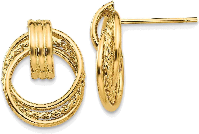 Polished Fancy Post Earrings in 14K Yellow Gold