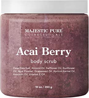 Majestic Pure Acai Berry Body Scrub - All Natural, Exfoliates, Moisturizes, and Nourishes Skin - Reduces the Appearance of Cellulite - 10 oz