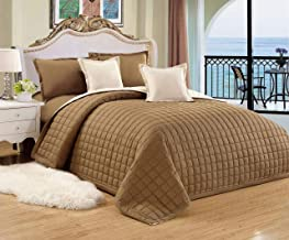 Moon Compressed Two-Sided Color 4 Pieces Comforter Set, Twin-Single Size, Br-Be, Mixed Material