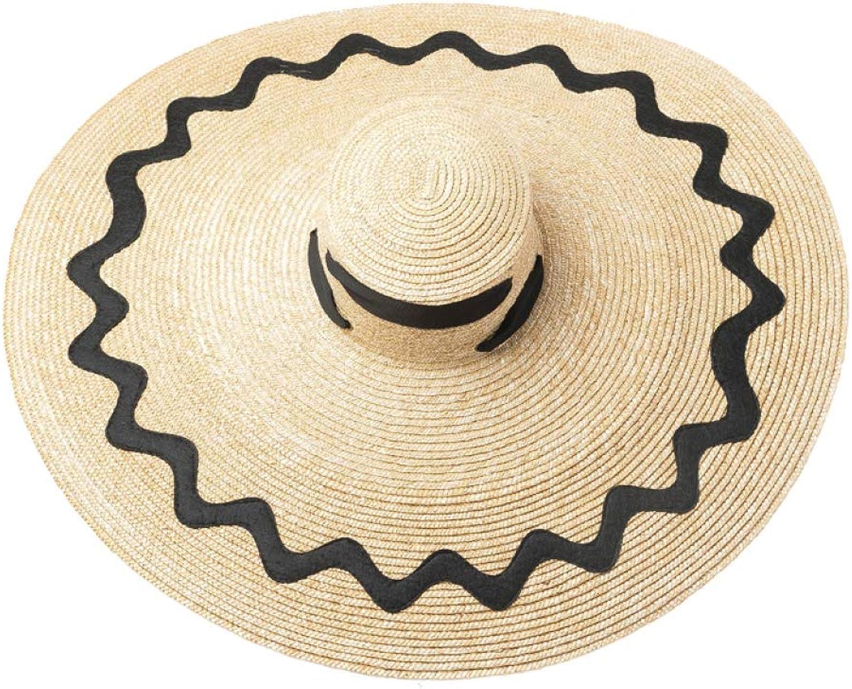XDHRTS Super Wide Brim Sun Straw Hat with Ribbon Ties Women Summer Beach Travel Cap Anti UV 10 Inches Panama Visors