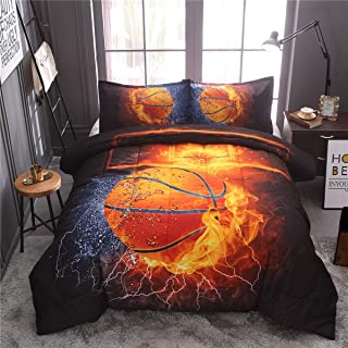 NTBED Basketball Comforter Sets for Boys Teens, 3-Pieces Sports Bedding Comforter Full,Reversible Printed Quilt Set with 2 Matching Pillow Shams