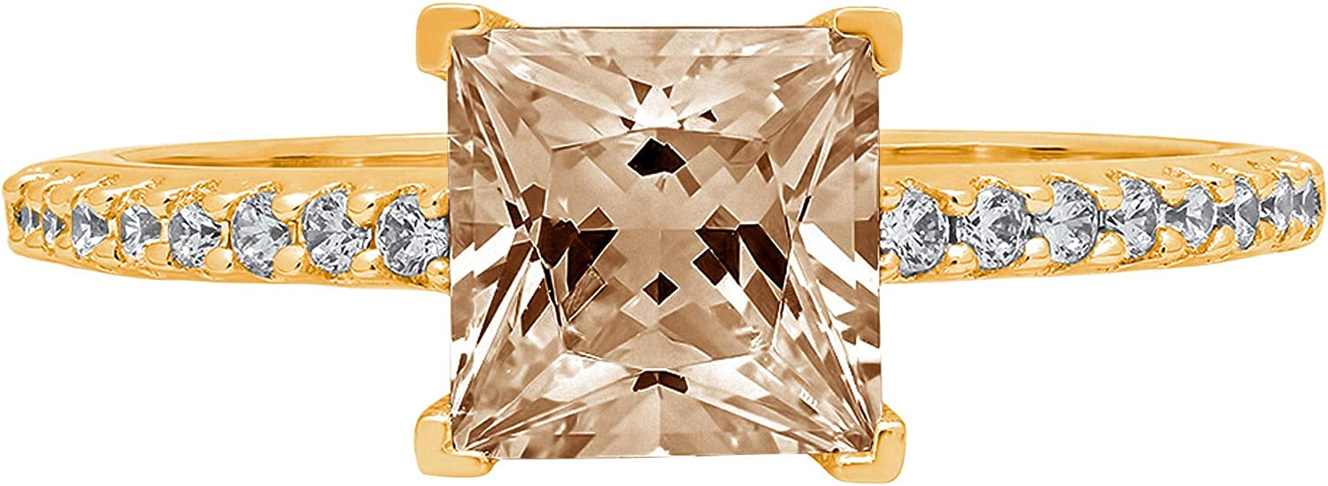 1.6ct Brilliant Princess Cut Solitaire with Accent Brown Champagne Ideal VVS1 Simulated Diamond CZ Engagement Promise Statement Anniversary Bridal Wedding Ring Solid 14k Yellow Gold