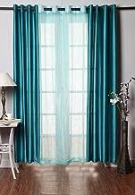 Homefab India Combo of 2 Plain and 1 Tissue Curtain (HF294, Multicolour)