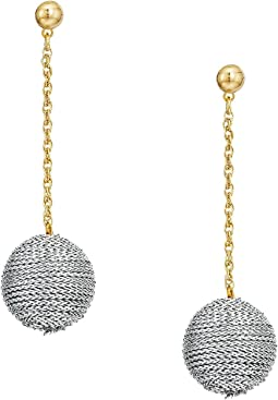 Silver Thread Wrapped Ball On Gold Chain Drop Post Earrings