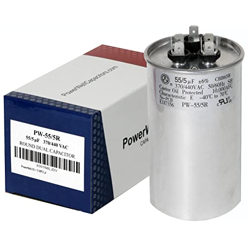 PowerWell 55 + 5 MFD uf Micro Farad 370 or 440 Volt Dual Run Round Capacitor