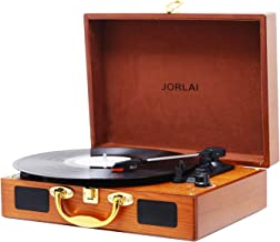 JORLAI Vinyl Record Player, 3 Speed Suitcase Turntable with Speakers, Portable LP Vinyl Player Aux-in, Headphone Jack, and RCA Output - Natural Wood