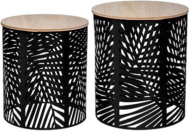 Atmosphera - Lot de 2 Tables à café en métal Feuilles Noires et Plateau en Bois