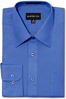 G-Style USA Men's Regular Fit Long Sleeve Solid Color Dress Shirts - French Blue - X-Large - 32-33