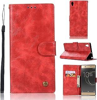 Telefonväska Skärmskydd för Sony Xperia Xa Ultra / C6 Retro Koppar Knapp Crazy Horse Horizontal Flip PU Läderfodral med Hå...