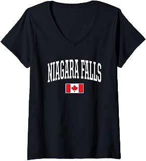 Womens Eh Team Canadian Flag Niagara Falls Canada V-Neck T-Shirt