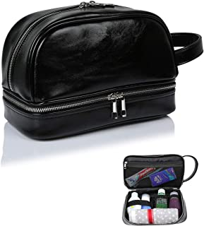 Toiletry Bag for Men or Women, PU Leather Shaving Dopp Kit Travel Case, Double-Layer Cosmetic Organizer Pouch Gifts For Father Husband Boyfriend