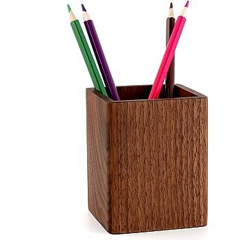 YOYAI ペン立て 木製 ウッドペンホルダー オフィス用品 卓上文具収納 鉛筆オーガナイザー ペンスタンドホルダー シンプル 筆立て ナチュラル (黒くるみ)