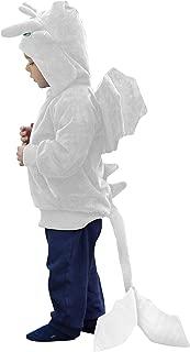 ComfyCamper Dragon Costume Sweatshirt for Boys Girls Kids as Cute Animal Dragon Hoodie (White, 6-8 Years)