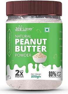 Joy Layer Natural Peanut Butter Powder 200gm ( 16g Protein / 3g Fat / Low Carb / Vegan / Gluten-Free / Non-GMO / Unsweeten...