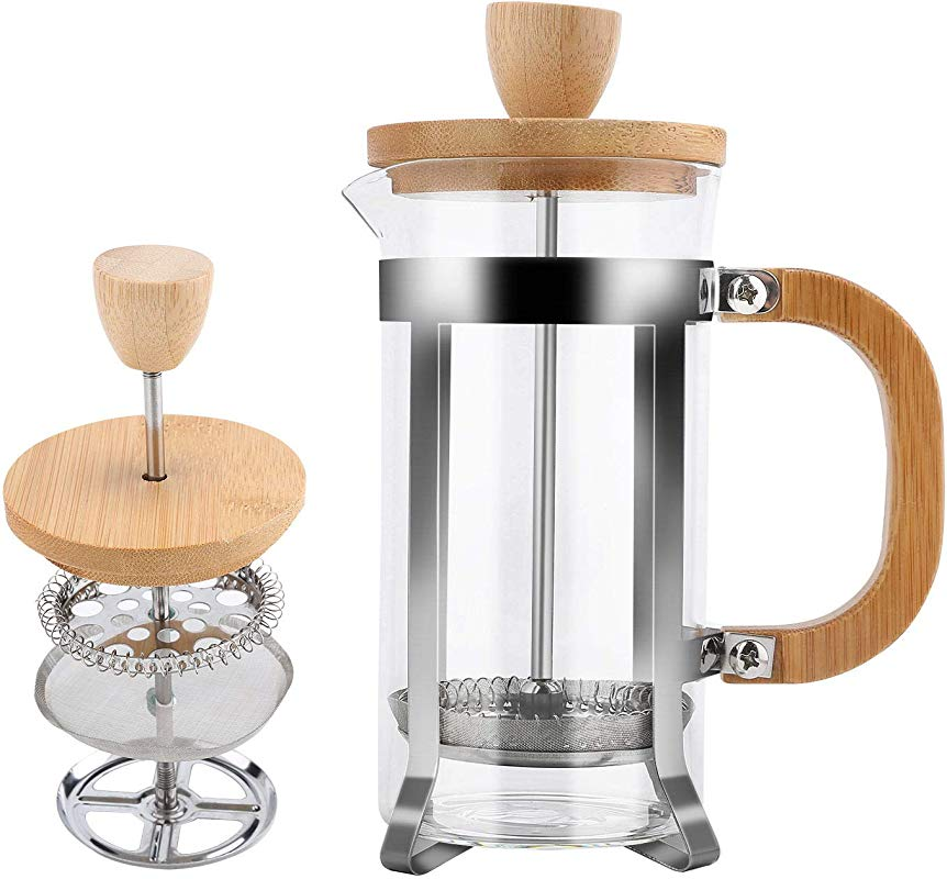French Press Coffee And Tea Maker By Pour 350ml 12 Oz Milk Frother With Bamboo Handle 18 8 Heat Resistant Stainless Steel Filter Thick Borosilicate Glass Easy To Clean