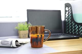 Doctor Bee 13.5oz Christmas Large Glass Coffee Mugs for Drinking Tea Latte Espresso Juice Water Milk Elk Deer Amber Set of 2