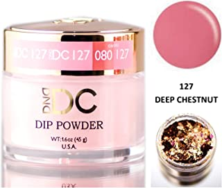 DND DC Pinks DIP POWDER for Nails 1.6oz, 45g, Daisy Dipping (with bonus side Glitter) Made in USA (Deep Chestnut (127))