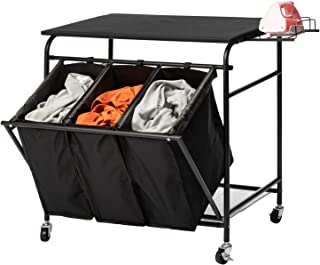 PARANTA Laundry Sorter Cart with Iron Rack Heavy Duty 3 Bags Classic Rolling Side Pull Ironing Board Laundry Hamper Sorter...