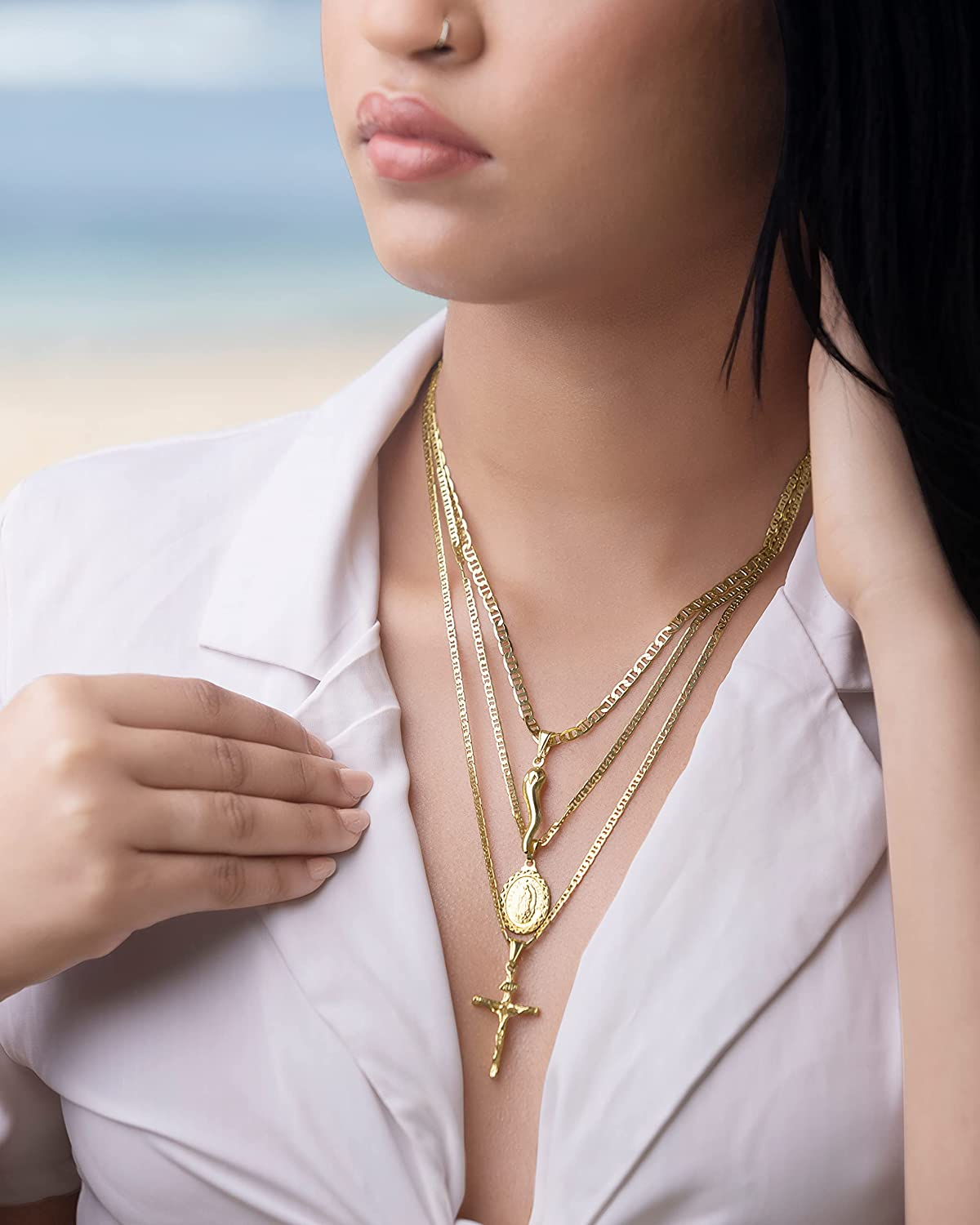 Cross Necklace for Women, Men, Boys, and Girls | Barzel 18K Gold Plated Flat Mariner/Marina 060 3MM Chain Necklace With Cross Pendant.