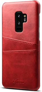 Galaxy S9 Leather Case,TACOO Super Slim Fit Soft Pu Protective Two Credit Card Slots Ultra Thin Phone Back Cover for Samsung Galaxy S9 2018-Red