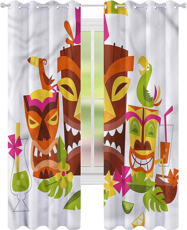 jinguizi Cortina opaca aislante térmico Luau Tiki Mascarillas bebidas aves W52 x L72 drapeado para puerta de cristal