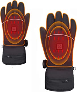 7.4V Rechargeable Heated Gloves Men Women Electric Touchscreen Motorcycling Cold Weather Gloves,Waterproof Sport Outdoor Hand Warmers Thermal Battery Powered Ski Gloves