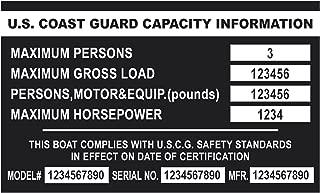 Custom Aluminum Boat Capacity Plate Black