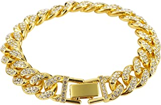 Cuban Link Bracelet 18k Gold Plated Stainless Steel Bracelets Iced Out With Bling Rhinestones Men Bracelets Women Bracelets