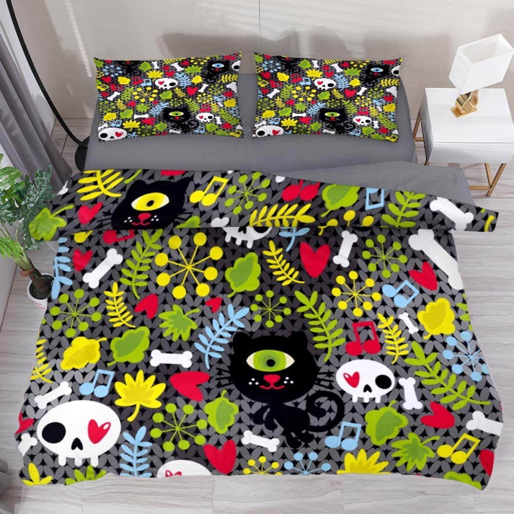 Cat Skull Green Leaves Tucson Mall sold out 3 Pieces Siz King Sets California Bedding