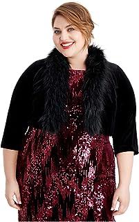 Jessica Howard Women's Plus Size Velvet Faux-Fur-Trim Shrug Jacket