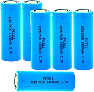 3.7V 1400mah ICR18500 Li-Ion Rechargeable Batteries with Flat Top(Blue) (6PC)