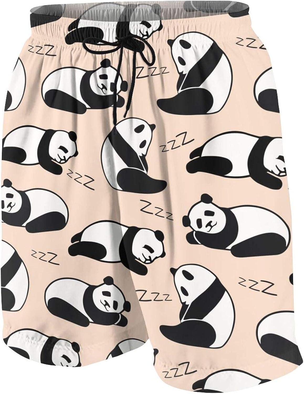 FuYin Cute Sleeping Pandas Boys Swim Trunks Quick Dry Beach Board Swim Shorts Swimsuit Swimwear from 7T to 18