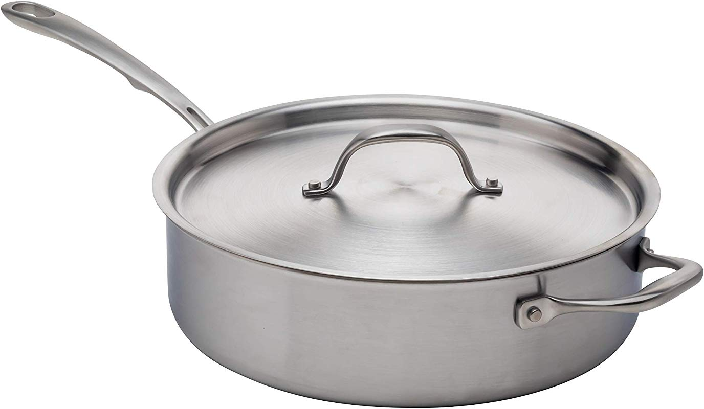 Kitchara 4 Quart Saute Pan With Cover Helper Handle 5 Ply Brushed Stainless Silver