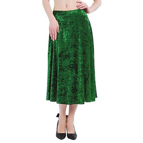 New Womens Floral A Line Velvety Textured Knee Length Skirt