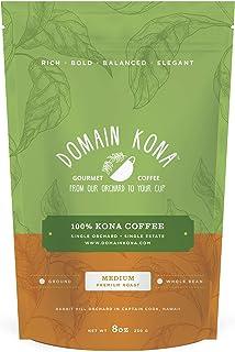 100% Kona Coffee – GROUND, Medium roast, Single estate gourmet coffee, 8 ounces, Farm fresh roasted from Domain Kona Coffee
