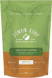 100% Kona Coffee – Ground, Medium roast, NEW label, Single estate gourmet coffee, 8 ounces, Farm fresh roasted from Domain Kona Coffee