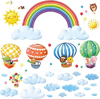 DECOWALL DA-1913P1406B Rainbow and Hot Air Balloons Kids Wall Stickers Wall Decals Peel and Stick Removable Wall Stickers for Kids Nursery Bedroom Living Room