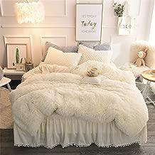 MooWoo Luxury Plush Shaggy Bedding Sets, 1 Velvet Flannel Duvet Cover + 1 Quilted Ruffle Bed Sheet Skirt + 2 Pompoms Fringe Pillow Shams, Zipper Closure, 4 PCS (Beige, Queen)
