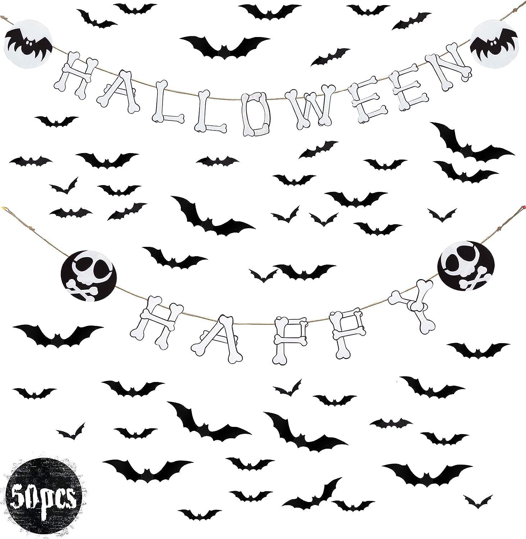 Halloween Banner Decoration with Bat Wall Sticker Décor Party Favor Supplies Outdoor Indoor