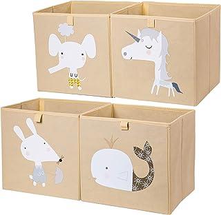 AXHOP Washable Storage Bins Storage Cubes [4-Pack] Collapsible Storage Bins for Shelf, Storage Baskets for Shelf, Baby, Ki...