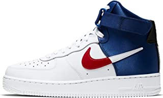 Men's Air Force 1 NBA High Casual Shoes (8, White/University Red/Black/Rush Blue)