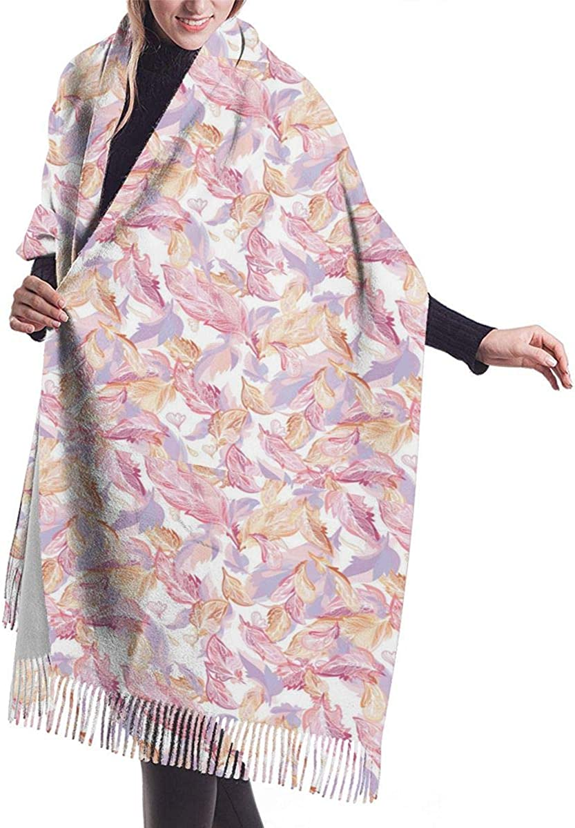 PINK Feather Pattern Winter Scarf Cashmere Scarves Stylish Shawl Wraps Blanket