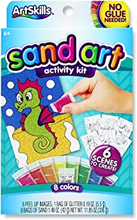 ArtSkills Sparkly Sand Art Activity Kit, Arts and Crafts Supplies, 6 Peel and Sprinkle Scenes to Create, 8 Sand Colors, 1 ...