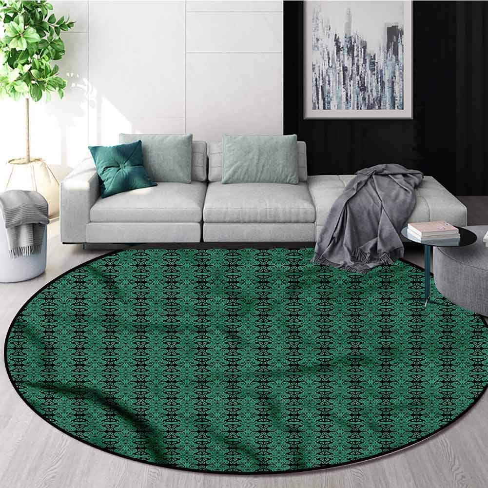 RUGSMAT Green and Black Modern Machine Bath Minneapolis Mall Round A Mat security Washable