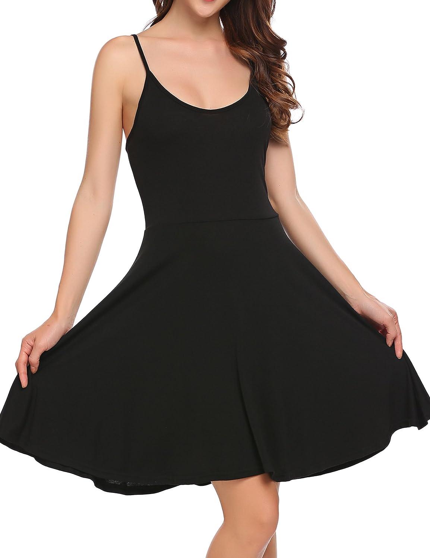 ACEVOG Women's Dress Sleeveless Adjustable Flared Swing Dress Flora Casual Dress Summer Sundress