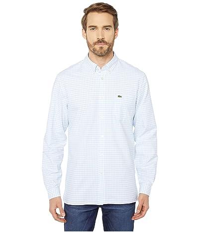 Lacoste Long Sleeve Oxford Gingham Button Down Collar Regular (White/Rill) Men