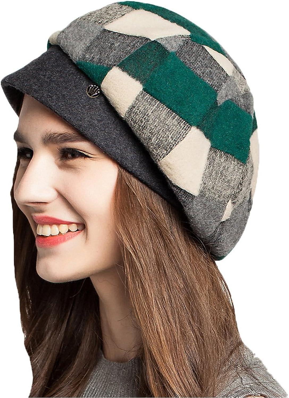 Maitose Trade; Women's Scottish Plaid Wool Peaked Cap Beret