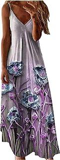 Dasongff Dasongff Damen Sommerkleider Böhmisch Kleid Halfter Ärmellos Blumenkleid Strandkleid Lang Kleider MaxiKleid Cocktailkleid Damen Lang Maxikleider Ärmelloses Trägerkleid Lässig Langes Kleid