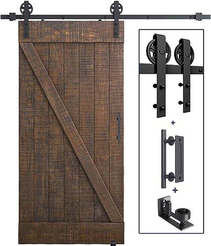 "lowest 6.6 online FT Heavy Duty Sliding Barn Door Hardware Kit(Wheel Shape) + Barn Door Bottom Adjustable Floor Guide Roller + 12"" Pull and Flush lowest Barn Door Handle Set sale"