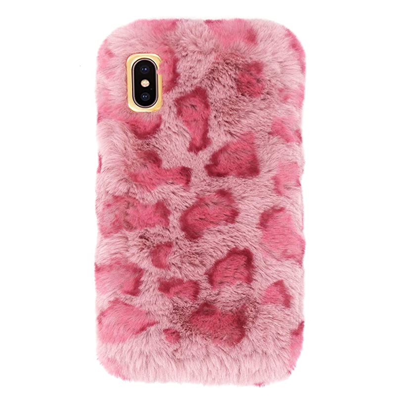 Fusicase for iPhone XR Plush Case Leopard Case Furry Case Ribbit Fur Case Warm Soft Handmade Hair with Luxury Leopard Pattern Case for iPhone XR Pink